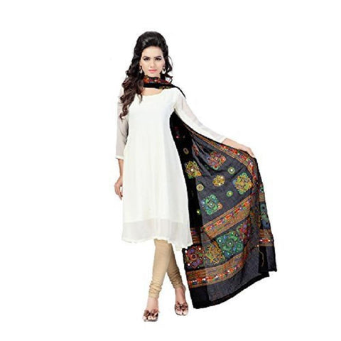 Black Color Cotton Dupatta - BN02