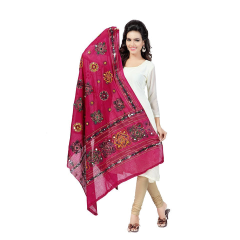 Pink Color Cotton Dupatta - BN05
