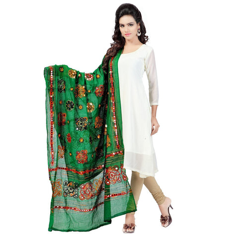 Green Color Cotton Dupatta - BN06