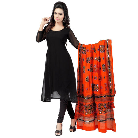 Orange Color Cotton Dupatta - BN07