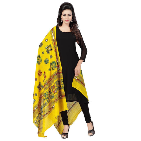 Lemon Color Cotton Dupatta - BN08