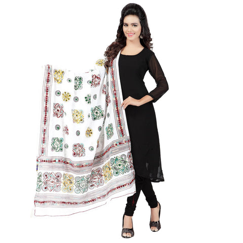 White Color Cotton Dupatta - BN09
