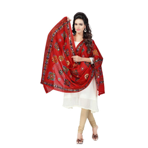 Red Color Cotton Dupatta - BN10