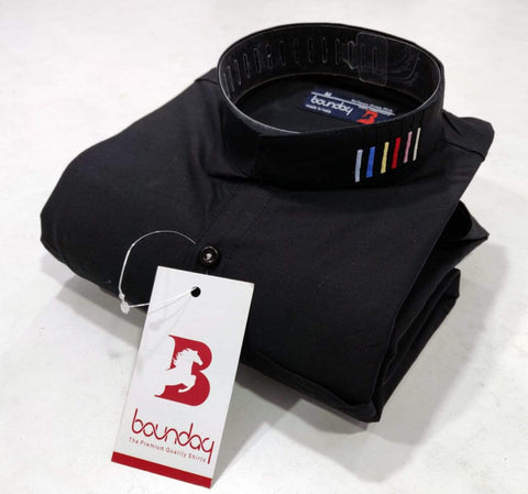Black Color Satin Mix Cotton Men's Solid Shirt - BO-2