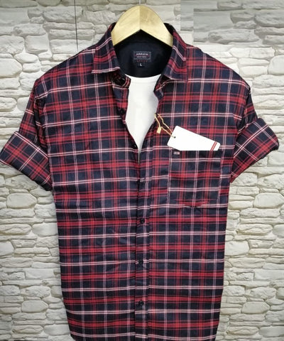 Red Multi Color Pure Cotton Men's Checked Shirt - AS-1