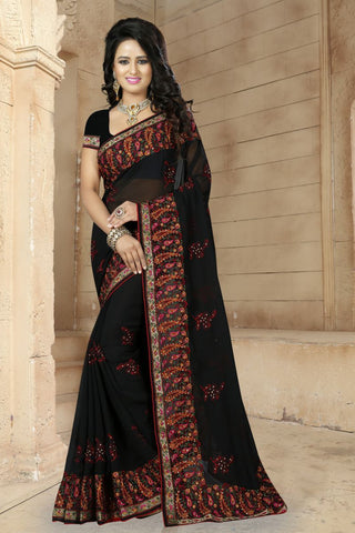 Black Color Georgette Saree - BRIDAL-486