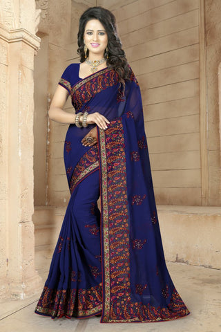 Navy Color Georgette Saree - BRIDAL-489
