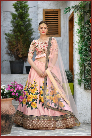 Peach Color Silk Women's Semi-Stitched Lehenga - BRIDESMAID-1031