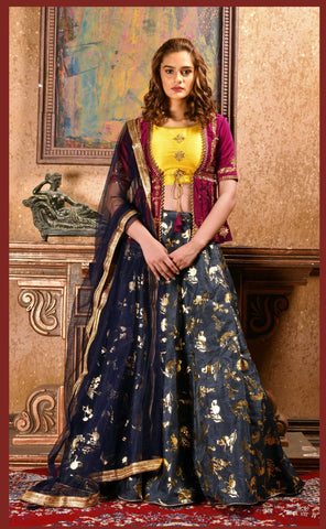 Navy Blue Color Silk Women's Semi-Stitched Lehenga - BRIDESMAID-1032