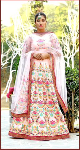 Peach Color Silk Women's Semi-Stitched Lehenga - BRIDESMAID-1033