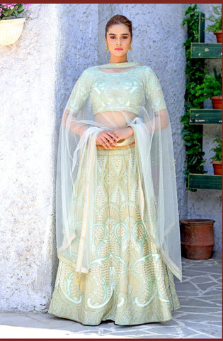 Mint Green Color Silk Women's Semi-Stitched Lehenga - BRIDESMAID-1034