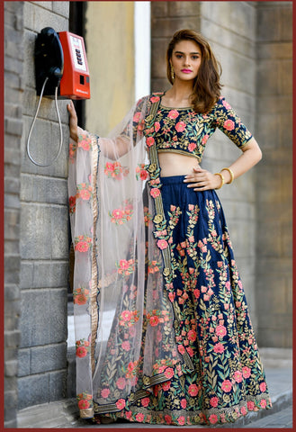 Navy Blue Color Silk Women's Semi-Stitched Lehenga - BRIDESMAID-1035