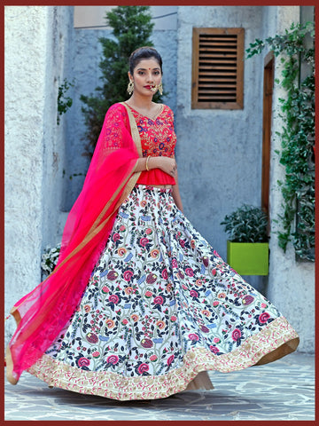 Mulit Color Color Silk Women's Semi-Stitched Lehenga - BRIDESMAID-1036