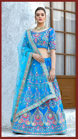 Sky Blue Color Velvet Women's Semi-Stitched Lehenga - BRIDESMAID-1037