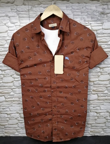 Reddish Brown Color Pure Cotton Flower Printed Men Shirt - BS-3