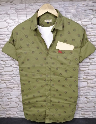 Green Color Pure Cotton Flower Printed Men Shirt - BS-4