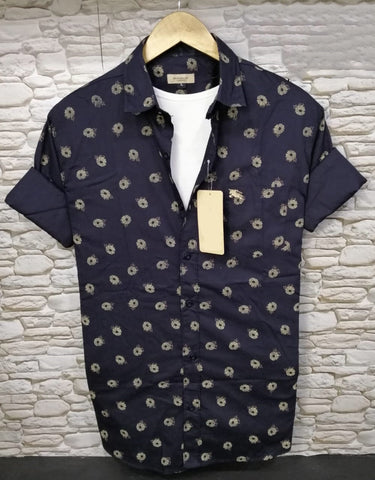 Blue Color Pure Cotton Flower Printed Men Shirt - BS-5