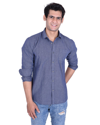 Navy Blue Color Cotton Shirt - BSNY04