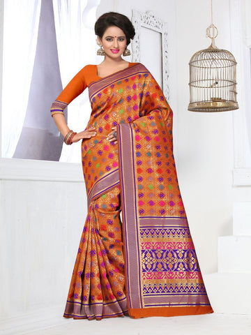 Multi Color Banarasi Silk Saree - BSTYLE-598