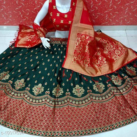 GREEN-RED Color Banarashi silk dyeing material  Lehenga - BUTTA-01