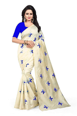 Blue and White  Color Zarna Silk  Saree  - BUTTERFLY-BLUE