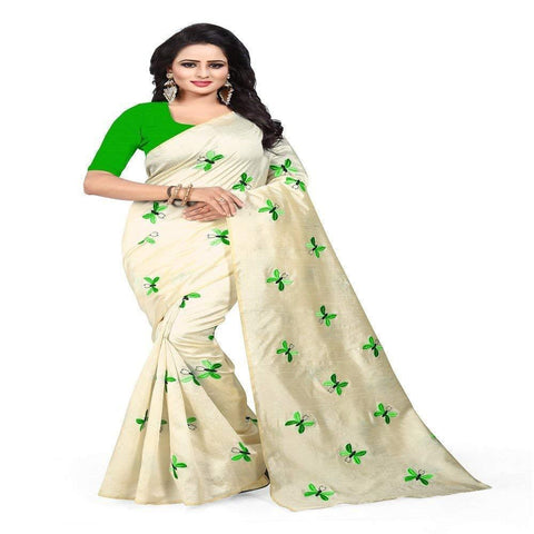 Green and White Color Zarna Silk  Saree  - BUTTERFLY-GREEN