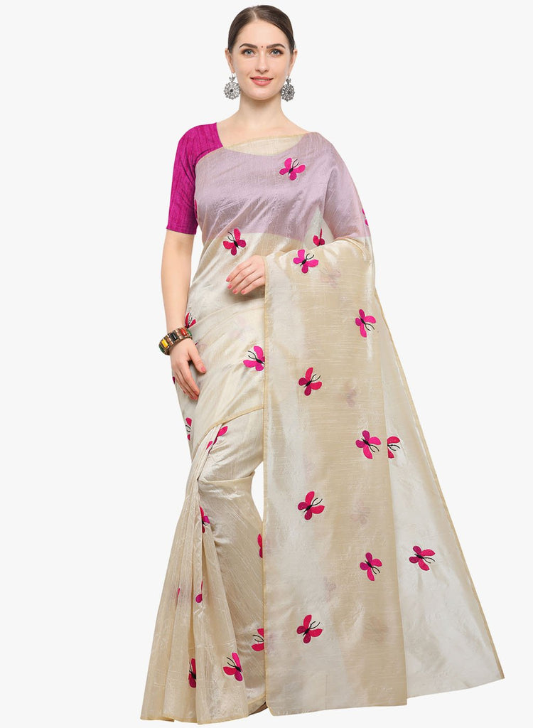 Buy Pink and White Color Zarna Silk  Saree