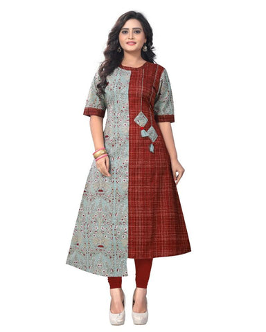 Grey And Maroon Color Cotton Stitched Kurti - BVF-KU-125