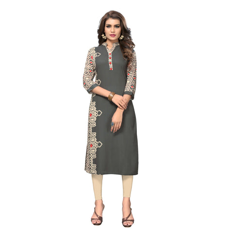 Grey Color Rayon Stitched Kurti - BVF-KU-149