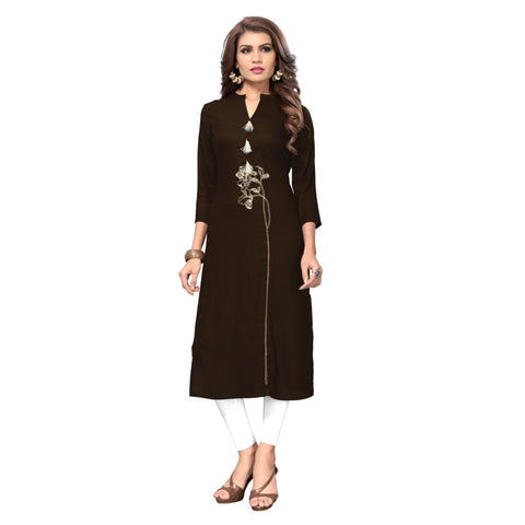 Brown Color Rayon Stitched Kurti - BVF-KU-150