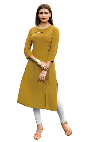 Mustard Yellow Color Rayon Stitched Kurti - BVF-KU-154
