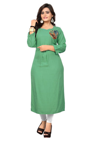Light Green Color Rayon Stitched Kurti - BVF-KU-161