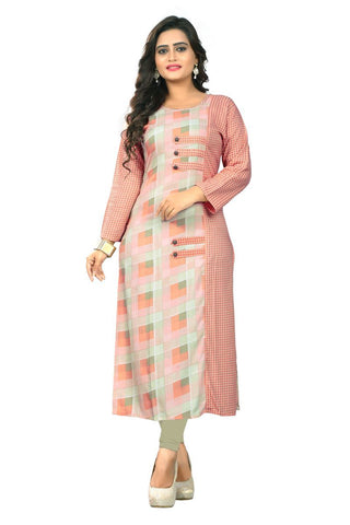 Peach Color Rayon Stitched Kurti - BVF-KU-168