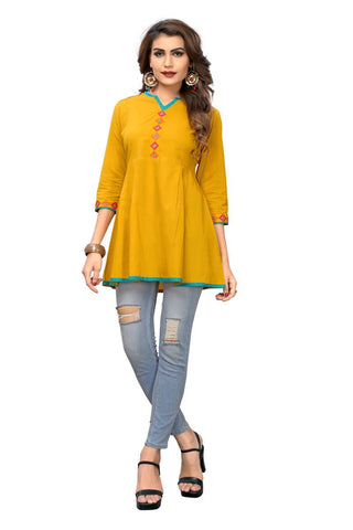 Musterd Yellow Color Cotton Stitched Kurti - BVF-KU-172