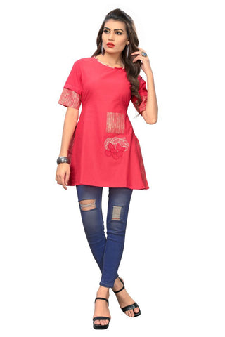 Pink Color Cotton Stitched Kurti - BVF-KU-173