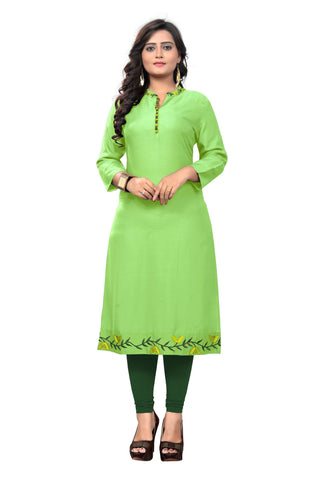 Parrot Green Color Rayon Stitched Kurti - BVF-KU-175