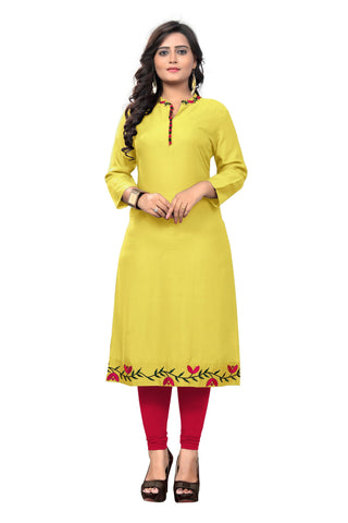 Yellow Color Rayon Stitched Kurti - BVF-KU-176