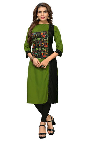 Green And Black Color  Rayon Stitched Kurti - BVF-KU-180
