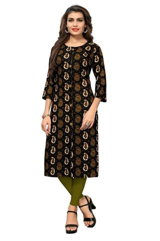 Black Color  Rayon Stitched Kurti - BVF-KU-183