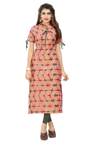 Peach Color Cotton Stitched Kurti - BVF-KU-189