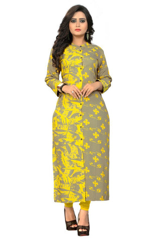 Grey And Yellow Color  Rayon Stitched Kurti - BVF-KU-192