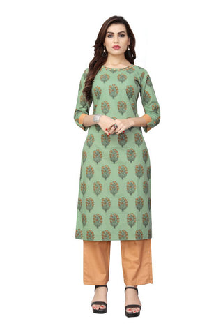 Light Green Color Cotton Stitched Kurti - BVF-KU-194