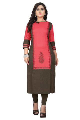 Pink Color Slub Cotton Stitched Kurti - BVF-KU-199