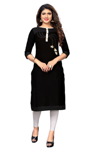 Black Color Slub Cotton Stitched Kurti - BVF-KU-214