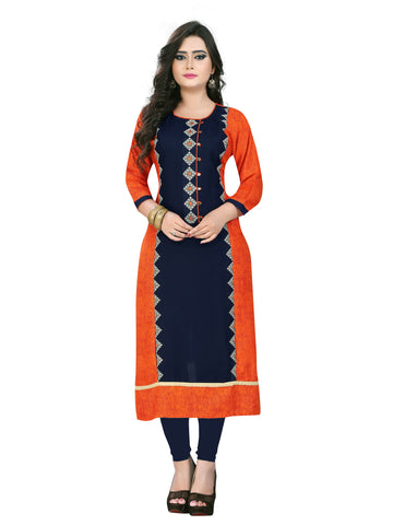 Dark Blue And Orange Color Rayon Stitched Kurti - BVF-KU-52