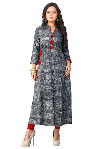 Grey Color Rayon ReadyMade kurti - BVF-KU-90