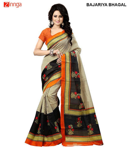 BIKAW-Women's Beautiful  Multi Color Bhagalpuri Silk Saree-BajariyaBhagal