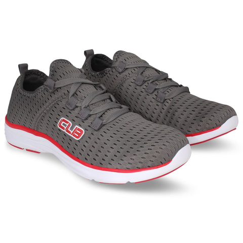 Grey and Red Color Synthetic Men's Shoe  - Balino-GreyRed