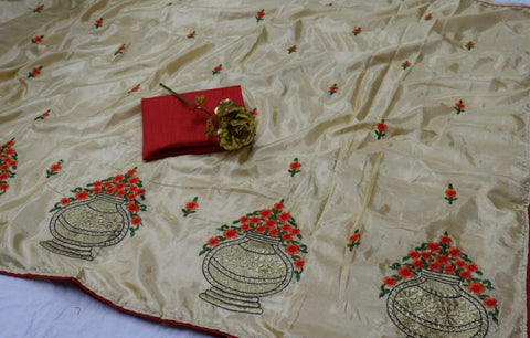 Off White Color Paper Silk Saree  - Banglory-Silk-5