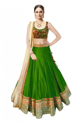 Green Color Banglori Satin Stitched Lehenga - Beuty-Green-Lehenga